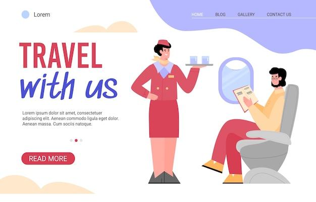 Viaja con nosotros a la página de inicio del sitio web de internet. auxiliar de vuelo a bordo que ofrece comida y bebida a los pasajeros del avión, fondo blanco de dibujos animados planos Vector Premium