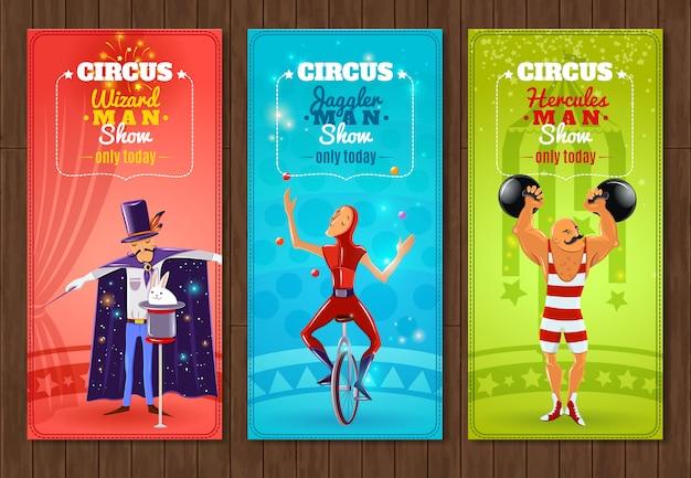 Viajando circo show conjunto de banners planas vector gratuito
