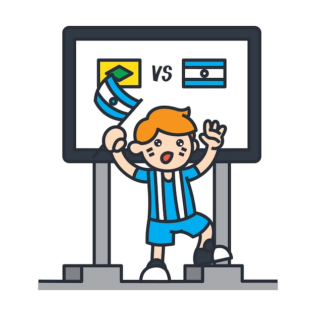 Viajando en la ilustración de dibujos animados de américa del sur. fanático del fútbol de argentina Vector Premium