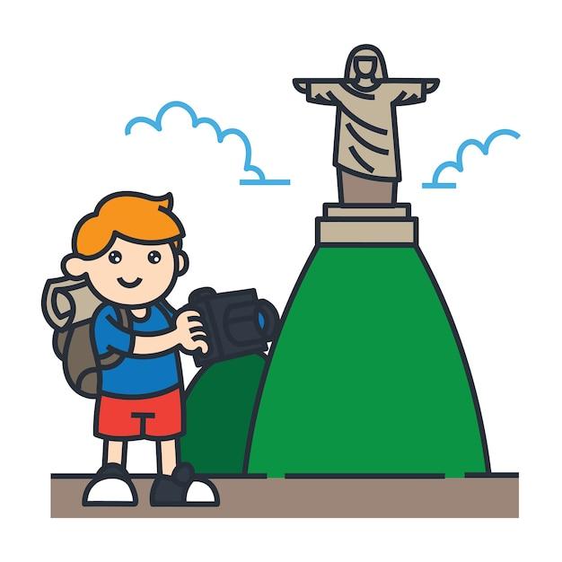 Viajando en la ilustración de dibujos animados de américa del sur. viajar en brasil Vector Premium