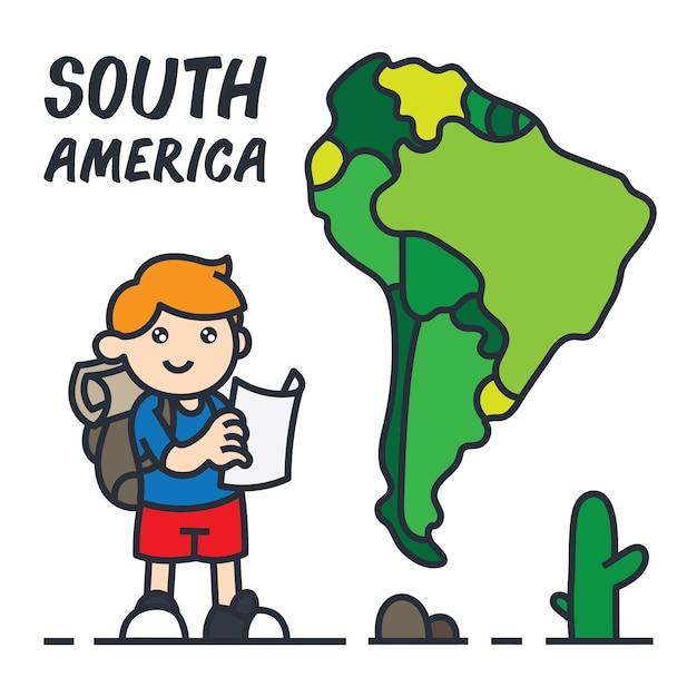 Viajando en la ilustración de dibujos animados de américa del sur. Vector Premium