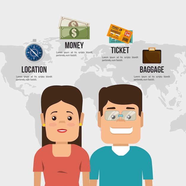 Viajar alrededor del mundo vector gratuito