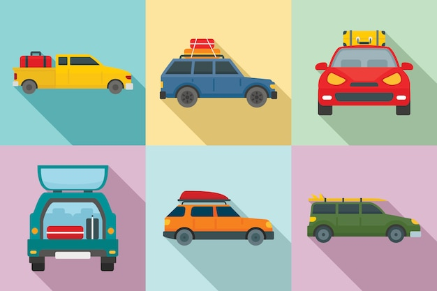 Viajar en conjunto de iconos de coche Vector Premium