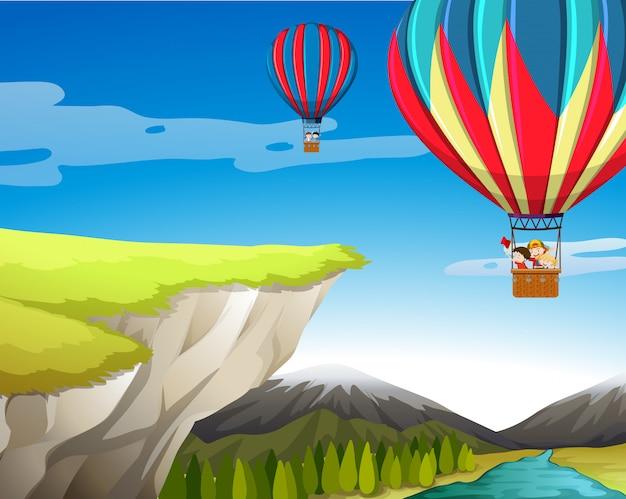 Viajar en globo aerostático. Vector Premium