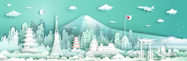 Viaje de arquitectura en japón con velero y avión. Vector Premium