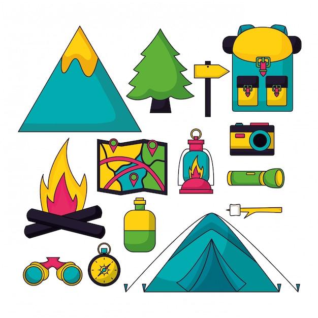 Viaje de campamento en estilo plano vector gratuito