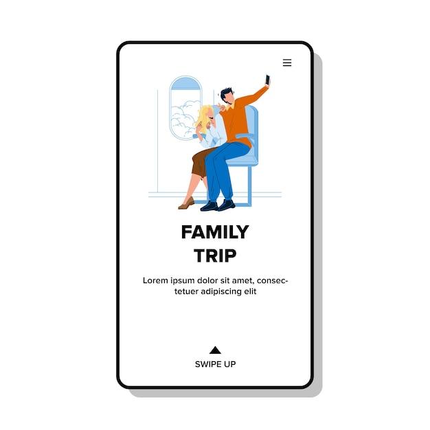 Viaje familiar en avión vacaciones de verano Vector Premium