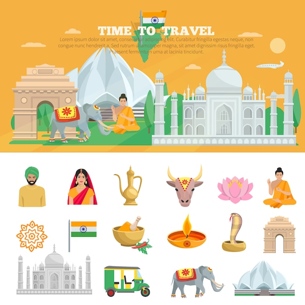 Viaje a la india vector gratuito