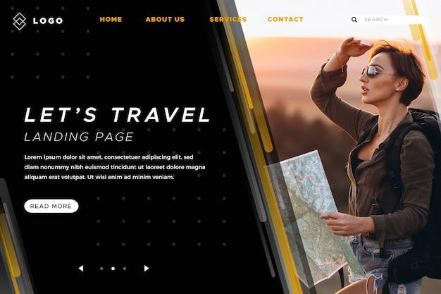 Viaje de la página de destino con foto vector gratuito