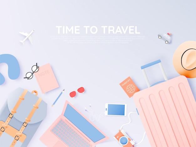 Viaje varios artículos en estilo de arte de papel con ilustración de vector de fondo de esquema de color pastel Vector Premium