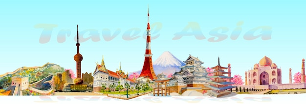 Viajes de arquitectura emblemática de asia. Vector Premium