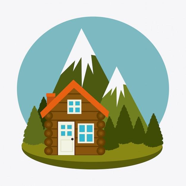 Viajes de campamento y vacaciones. vector gratuito