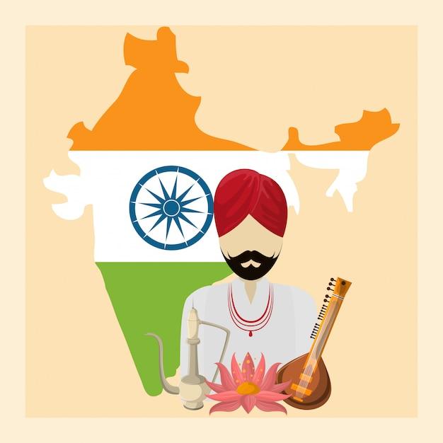 Viajes y cultura india Vector Premium