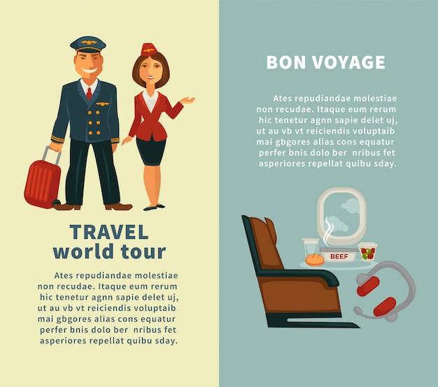 Viajes por la gira mundial y carteles verticales de bon voyage. Vector Premium