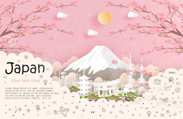 Viajes y publicidad de viajes y punto de referencia de japón. Vector Premium
