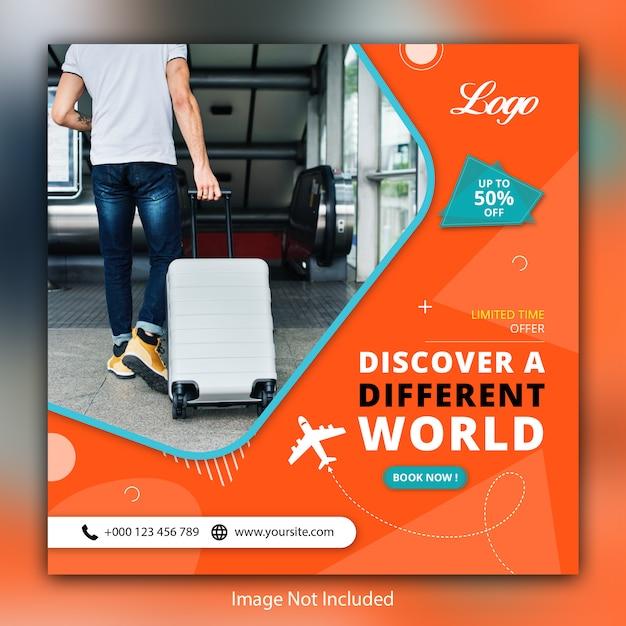 Viajes tours banner de venta social Vector Premium