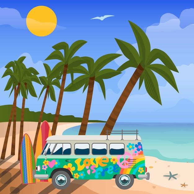 Viajes de verano en trópicos vector, ilustración. vista al mar en verano con equipo de juegos acuáticos, playa, palmeras tropicales y autobuses pintados de colores. mar azul y vacaciones de verano. Vector Premium