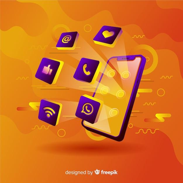 Vibrante teléfono móvil antigravedad con elementos vector gratuito