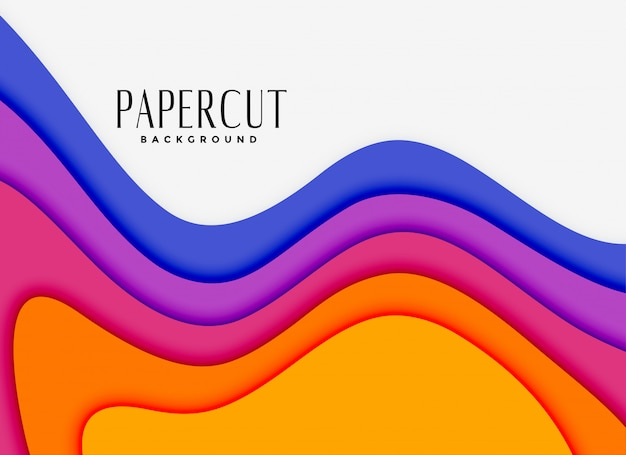 Vibrantes capas de papercut en diferentes colores. vector gratuito