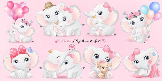 Vida de elefante pequeño lindo con conjunto de ilustración de acuarela vector gratuito