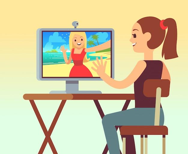 Video chat entre amigos en auriculares en la computadora con ...