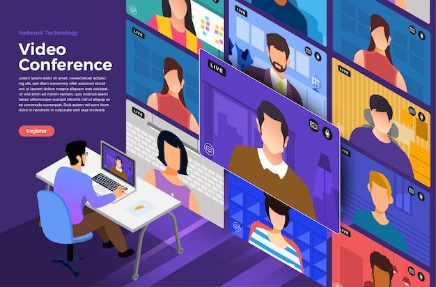 Video conferencia Vector Premium