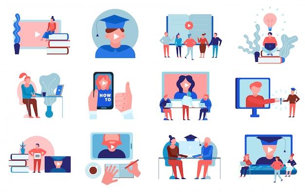 Video de educación en línea, tutoriales, entrenamiento de idiomas, universidad, universidad, cursos certificados, programas, elementos planos, colección, aislado vector gratuito
