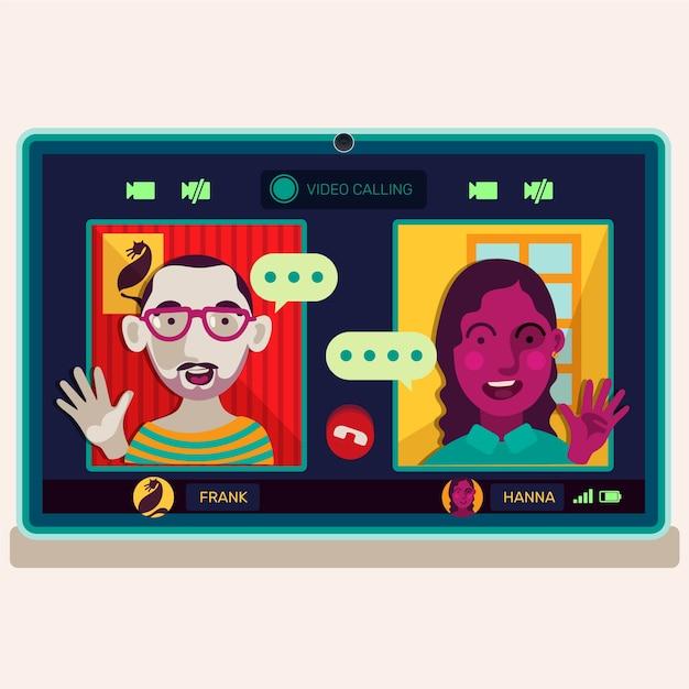 Video llamada de amigos en la ilustración del portátil vector gratuito