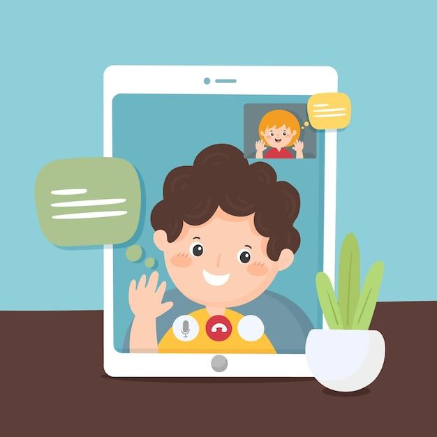 Video llamada de amigos en la ilustración de la tableta vector gratuito