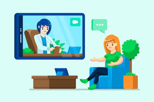 Video llamada con el terapeuta vector gratuito