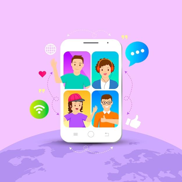 Video llamadas de amigos vector gratuito