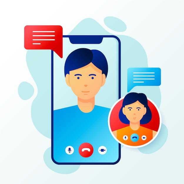 Video llamadas ilustradas de amigos vector gratuito
