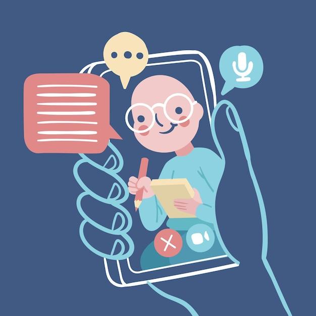 Video llamadas ilustradas con terapeuta vector gratuito