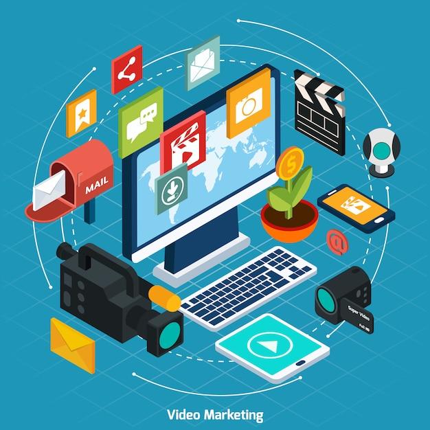 Video marketing concepto isométrico vector gratuito