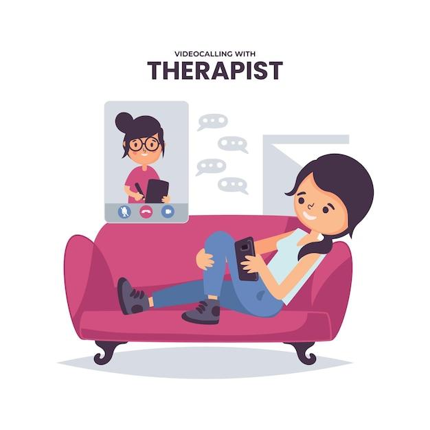Videoconferencia con el concepto de terapeuta vector gratuito