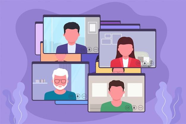 Videoconferencia, discusión comercial en línea, video chat. concepto de comunicación en línea. Vector Premium