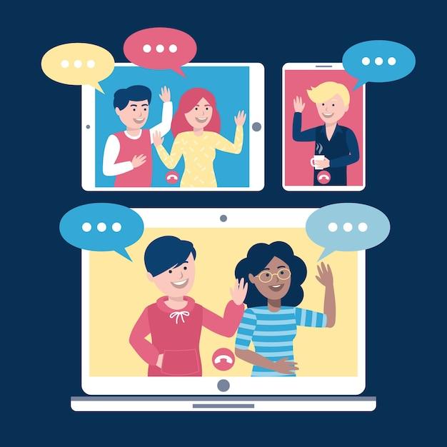 Videoconferencia en línea con amigos vector gratuito