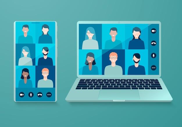 Videoconferencia en línea en un teléfono inteligente y una computadora portátil. Vector Premium