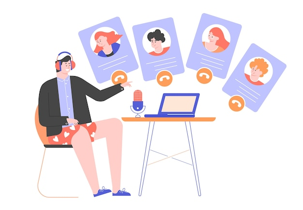 Videoconferencia online, reunión, trabajo a distancia desde casa. Vector Premium