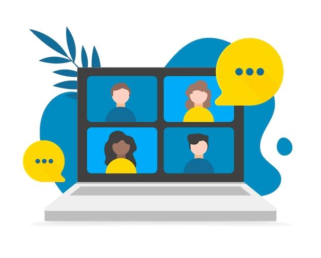 Videoconferencia, trabajo desde casa, distanciamiento social, discusión de negocios en la pantalla del portátil. ilustraciones. videollamada de conferencia en la computadora portátil, garabatos de fondo y hojas. Vector Premium