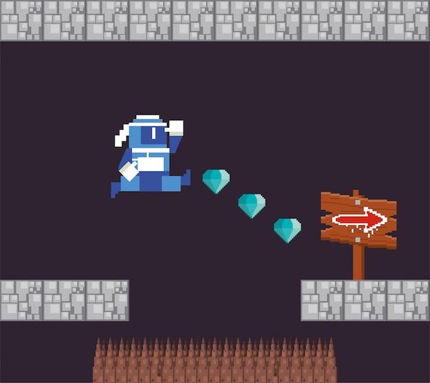 Videojuego guerrero saltando en escena pixelada Vector Premium