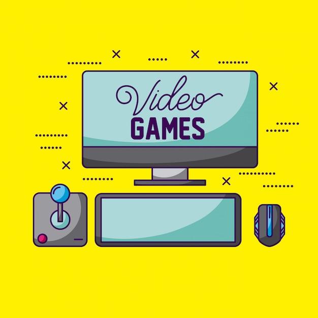 Videojuegos, joystick, pantalla y mouse vector gratuito
