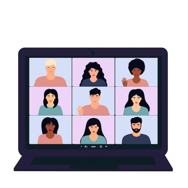 Videollamada de conferencia de negocios grupal. reunión del equipo multiétnico desde casa durante la pandemia del coronavirus covid-19 Vector Premium