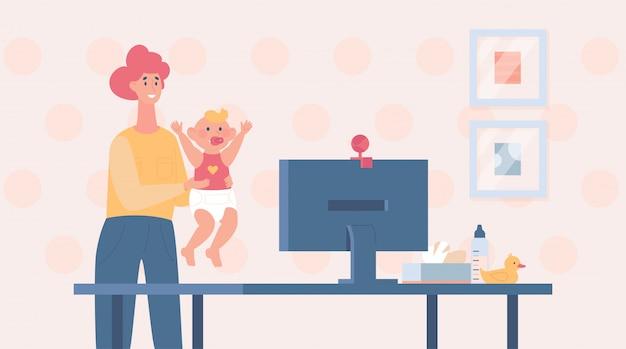 Videollamada familiar. madre mostrando a su bebé a través de la ilustración de dibujos animados de video conferencia. Vector Premium