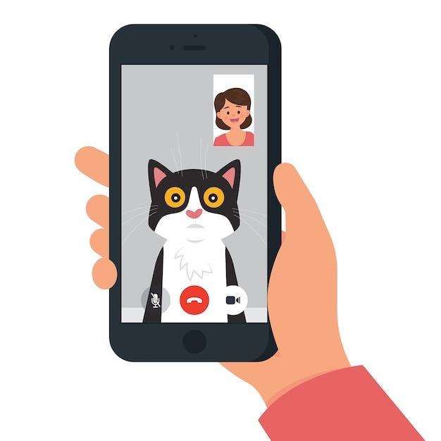 Videollamada con gato / mascota Vector Premium
