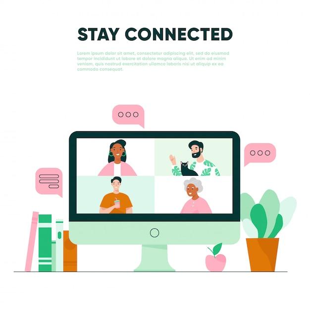 Videollamada en la pantalla. reunión virtual con la familia. concepto de videoconferencia Vector Premium