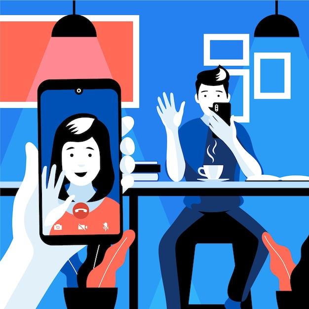 Videollamadas de amigos en el teléfono inteligente vector gratuito
