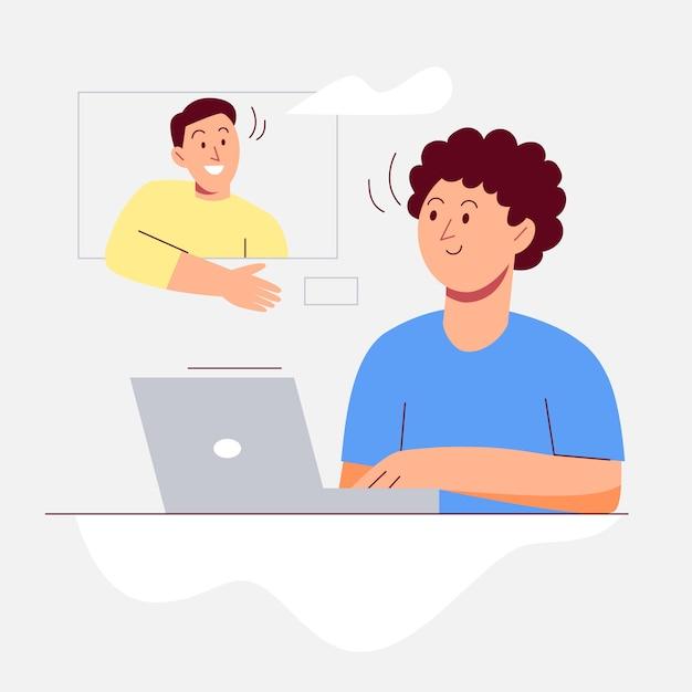 Videollamadas y chateando con amigos vector gratuito