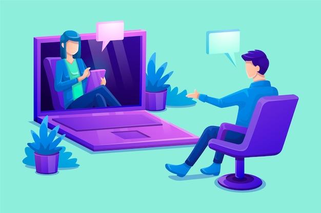 Videollamadas en línea con el terapeuta. vector gratuito