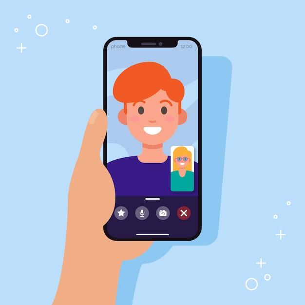 Videollamadas en pareja desde teléfonos inteligentes vector gratuito